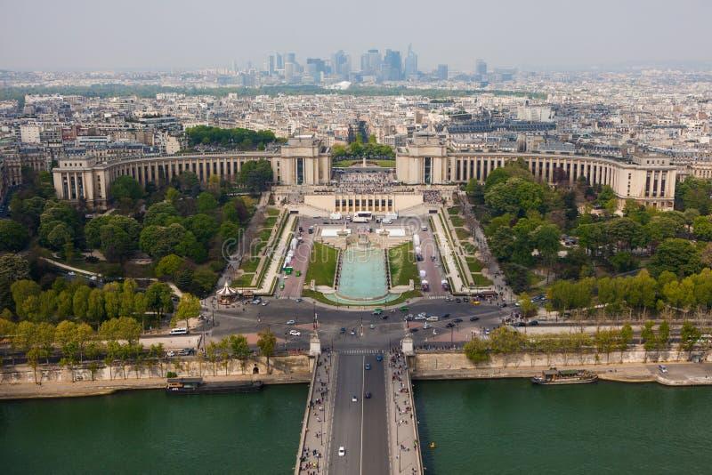 Trocadero en Trocadero-Tuin luchtmening royalty-vrije stock afbeeldingen