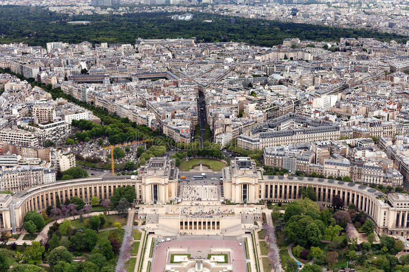 Trocadero gardens Paris. Elevated view of the buildings and suburbs of Paris, France, seen from the top of the Eiffel Tower, with the Trocadero Gardens in the royalty free stock photo