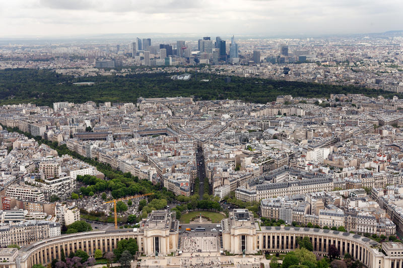 Trocadero gardens Paris. Elevated view of the buildings and suburbs of Paris, France, seen from the top of the Eiffel Tower, with the Trocadero Gardens in the stock images