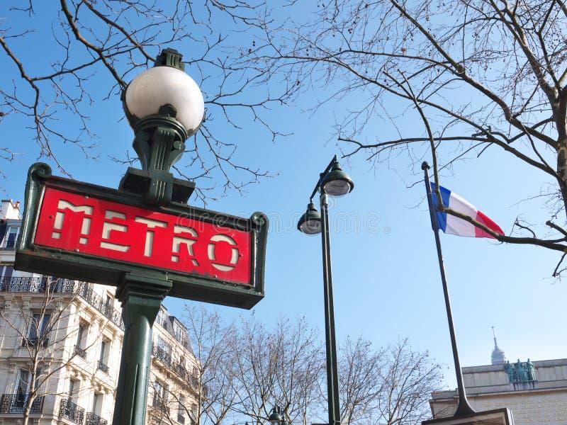 Trocadero metra znak blisko Palais De Chaillot Paryż fotografia royalty free