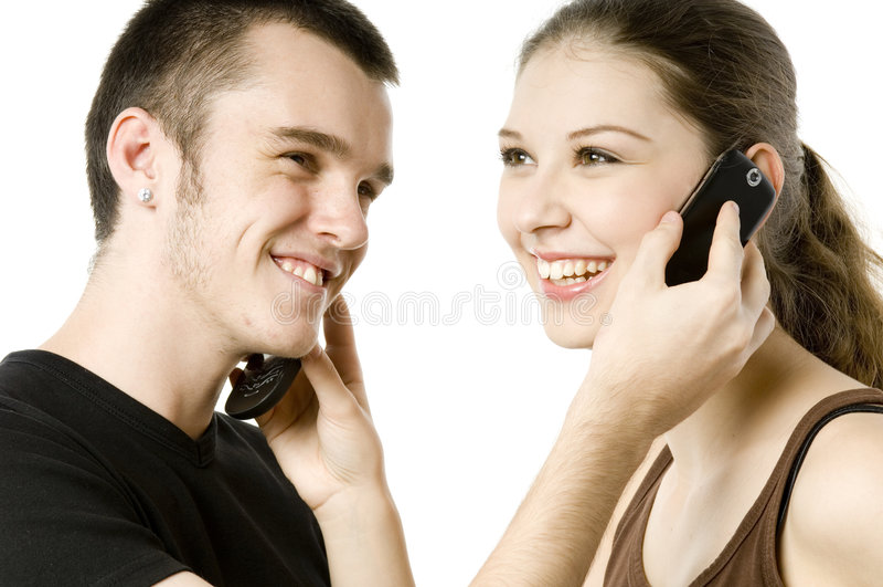 Trocando telefones imagens de stock royalty free