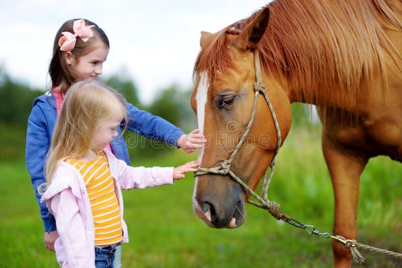 Trocas de carícias bonitos de duas irmãs mais nova um cavalo no campo imagem de stock