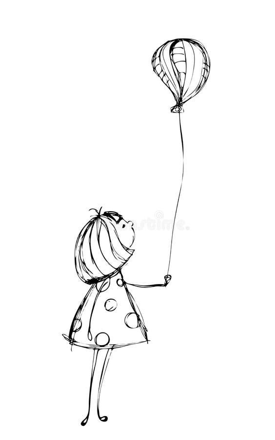 trochę balonowa dziewczyna royalty ilustracja