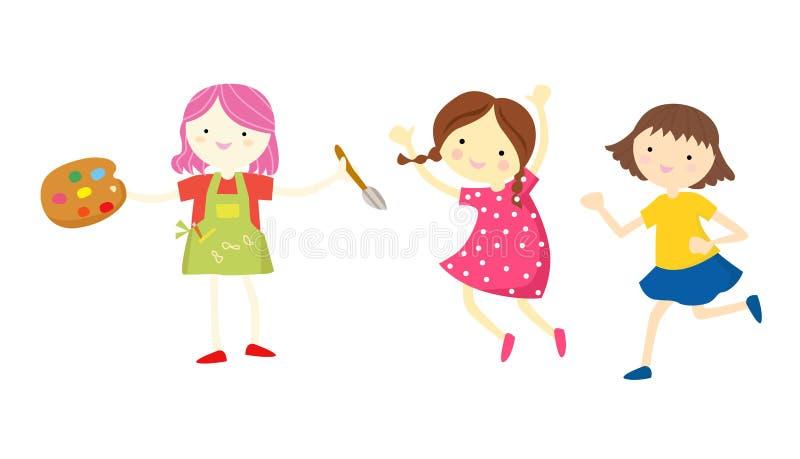 trochę trzy dziewczyny ilustracja wektor
