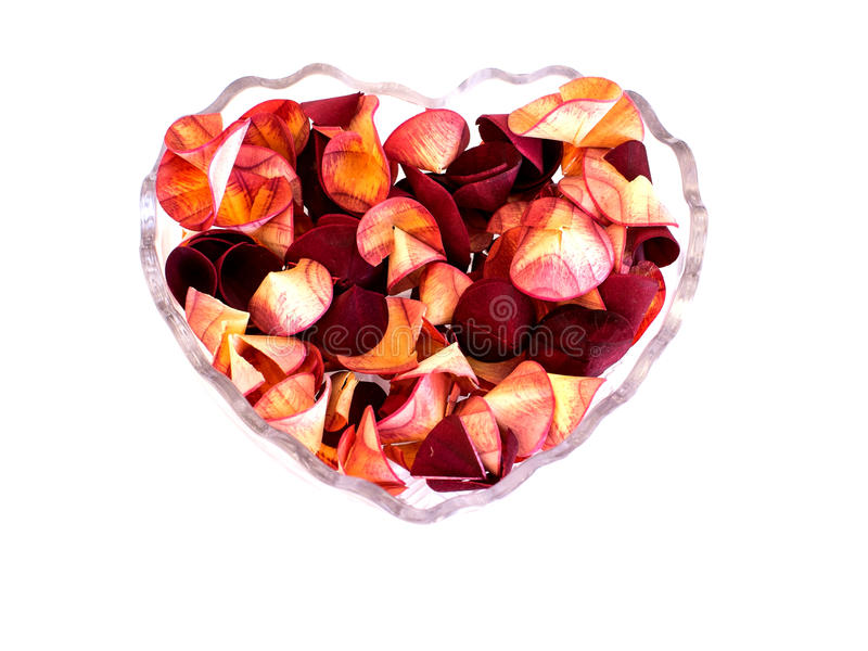 Trockenblumengesteck in geformtem Behälter des Herzens lizenzfreie stockfotos