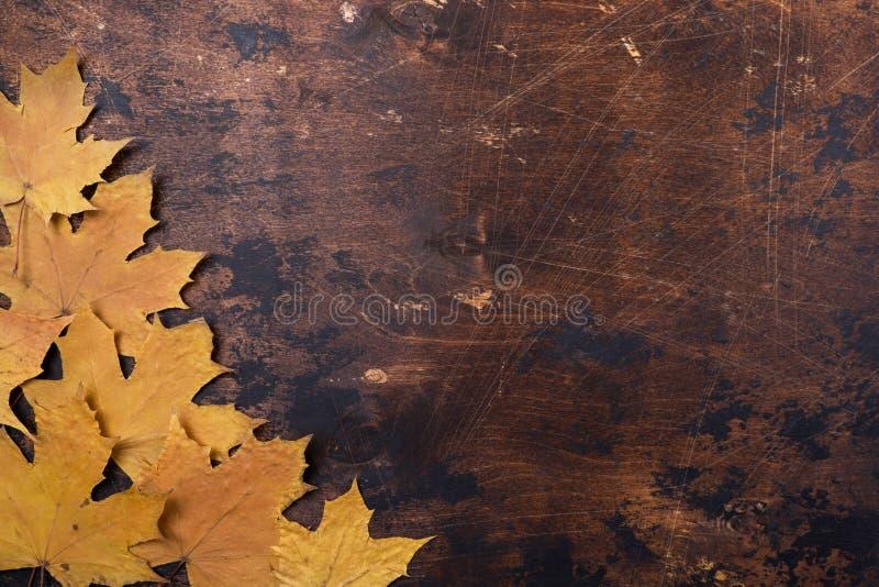 Trockene Ahornblätter auf Hintergrundbeschaffenheit Kopienraum Herbstkonzept des alten Schmutzes hölzernem stockbild