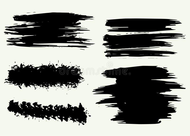 Trockene B?rstenhintergr?nde des Schmutzvektors Getrennt Hand gezeichneter Satz stockfotos