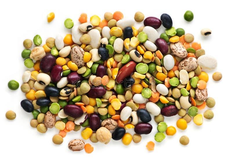Trockene Bohnen und Erbsen lizenzfreie stockfotos