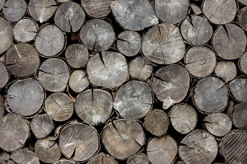 Trockene Brennholzklotz des Hintergrundes stockbild