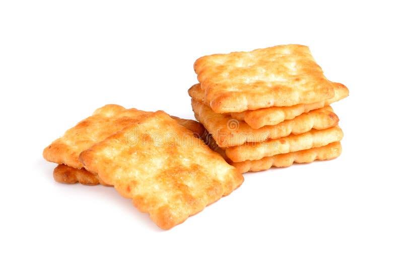 Trockene Crackerpl?tzchen lokalisiert auf einem wei?en Hintergrund stockbild