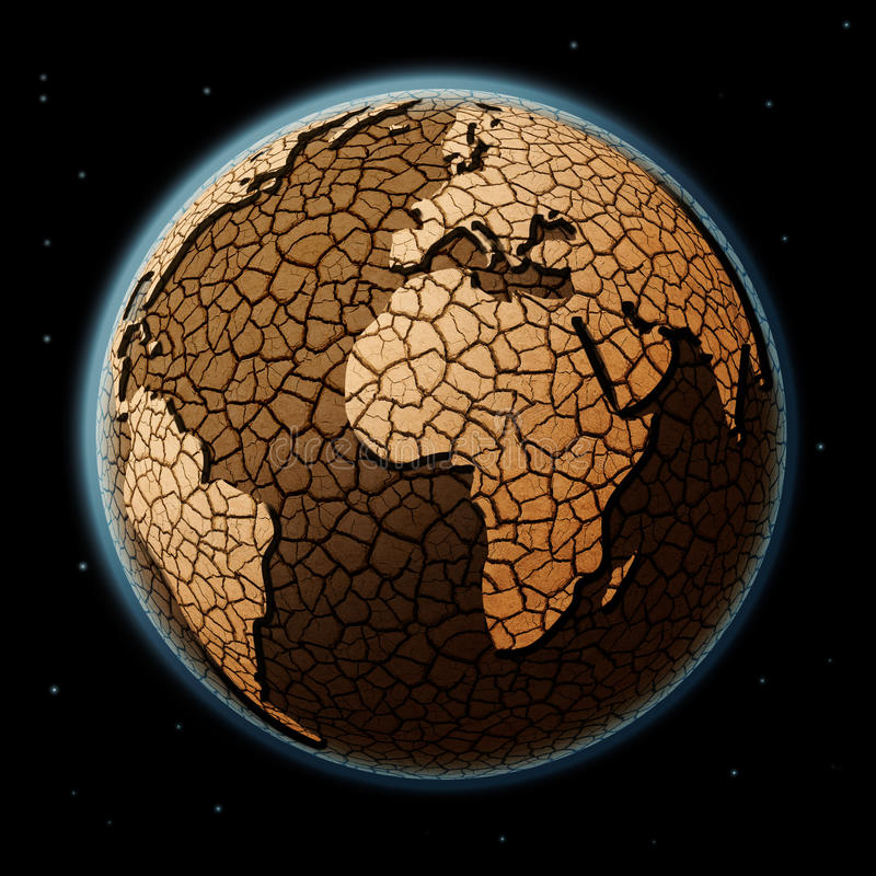 Trockene Erde im Raum lizenzfreie stockfotos