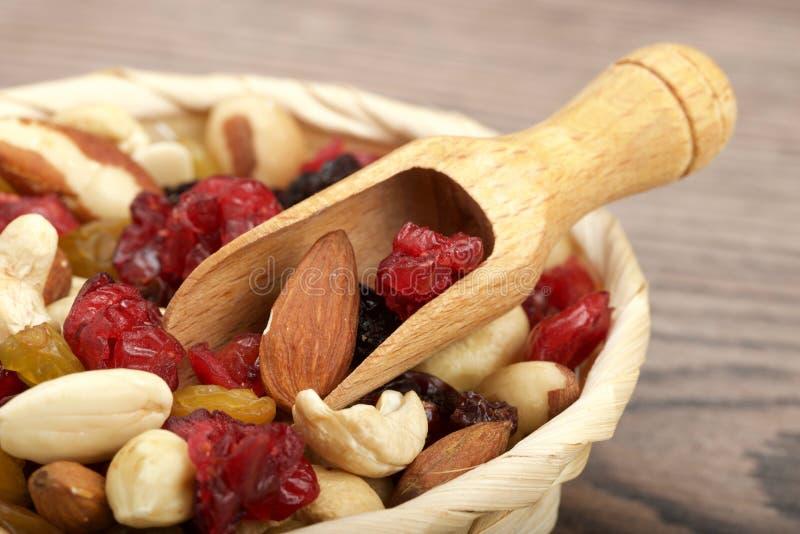 Trockene Frucht mit Nüssen stockbilder