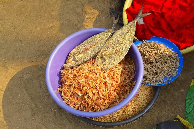Trockene Garnele und Fische für Verkauf bei Nagaon setzen, Maharashtra auf den Strand stockfoto