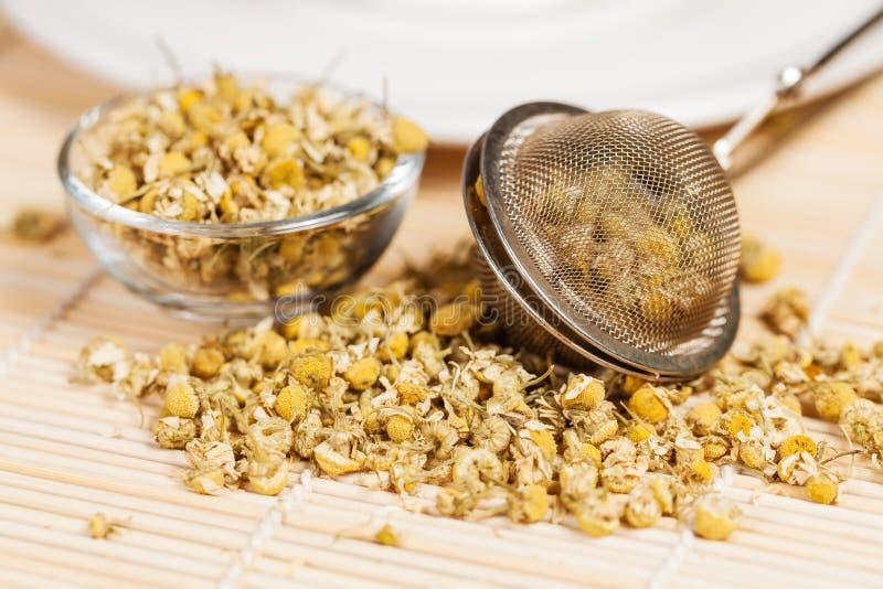 Trockene Kamille mit Teesieb- und -glasteller stockfotos