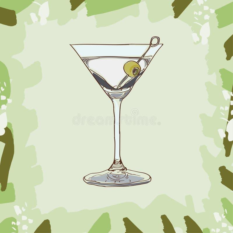 Trockene Martini-Cocktailillustration Alkoholische Bargetränkhand gezeichnet Pop-Art vektor abbildung