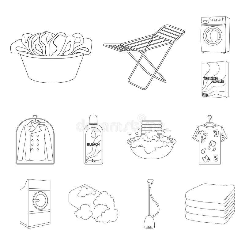 Trockene Reinigungsanlageentwurfsikonen in der Satzsammlung für Design Das Waschen und das Bügeln kleidet Vektorsymbol-Vorratnetz vektor abbildung