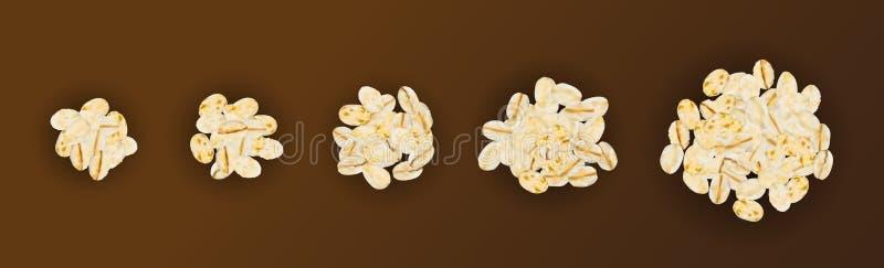 Trockene rohe Hafer-Flocken oder Hafermehl-Vektor-Illustration lizenzfreie abbildung