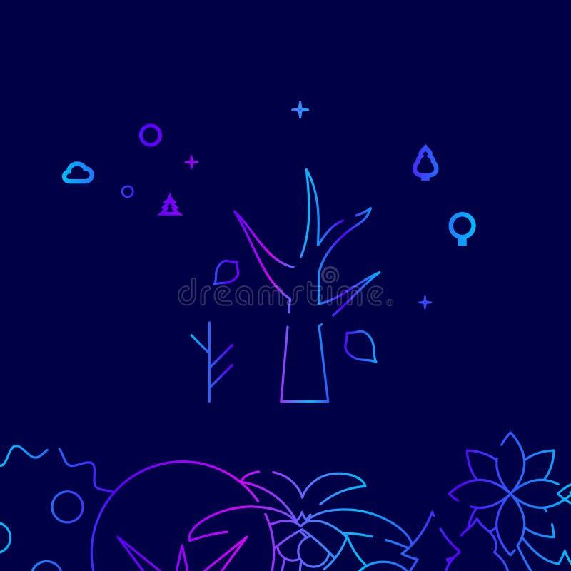 Trockener Baum mit gefallenen Blättern, Autumn Vector Line Icon, Illustration auf einem dunkelblauen Hintergrund In Verbindung st lizenzfreie abbildung
