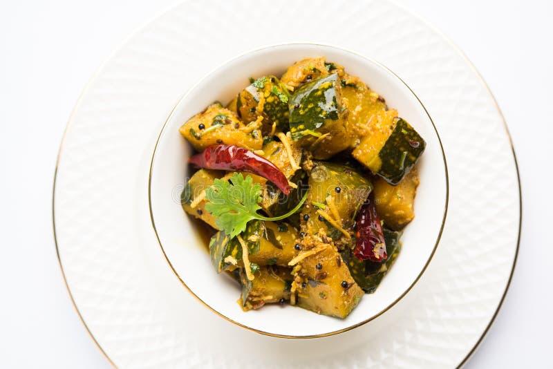 Trockener Curry populären indischen Hauptgericht Gemüsekürbises oder kaddooor kaddu ki sabzi in Hindi, lal bhopla Chi bhaji im Ma stockbild