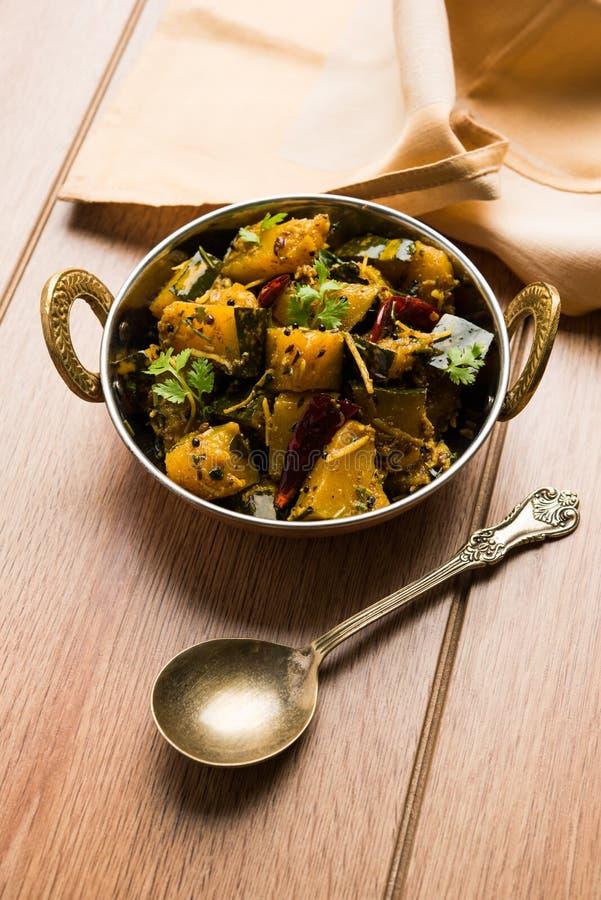 Trockener Curry populären indischen Hauptgericht Gemüsekürbises oder kaddooor kaddu ki sabzi in Hindi, lal bhopla Chi bhaji im Ma stockfotografie
