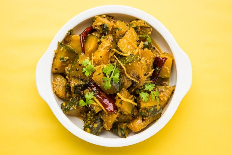 Trockener Curry populären indischen Hauptgericht Gemüsekürbises oder kaddooor kaddu ki sabzi in Hindi, lal bhopla Chi bhaji im Ma stockbilder