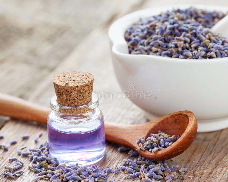 Trockener Lavendel blüht im Mörser und in der Flasche ätherischem Öl stockfotografie