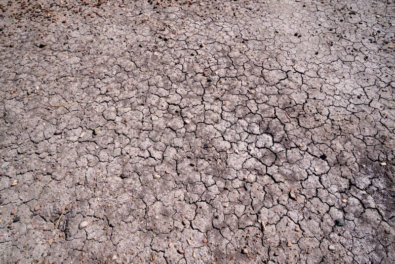 Trockener, unfruchtbarer, gebrochener Boden versteinerten Forest National Parks und gemalte Wüste in Arizona USA lizenzfreie stockfotografie
