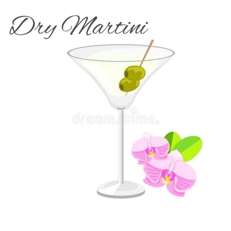 Trockenes Martini-Cocktail lokalisiert auf Weiß vektor abbildung