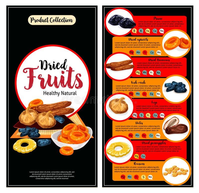 Trockenfrüchte, superfood Nahrungstatsachen-Fahnensatz stock abbildung