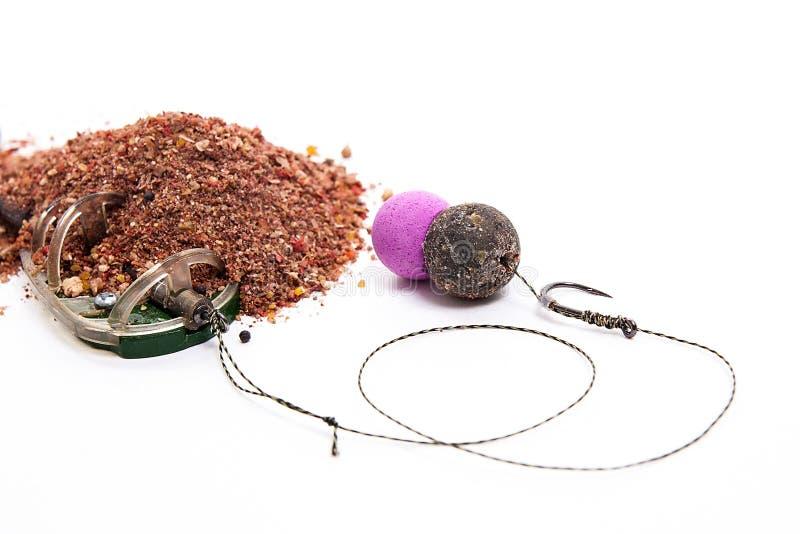 Trockenfutter für Karpfenfischen Bereiten Sie für Gebrauch Karpfenköder mit Fischen vor stockfoto