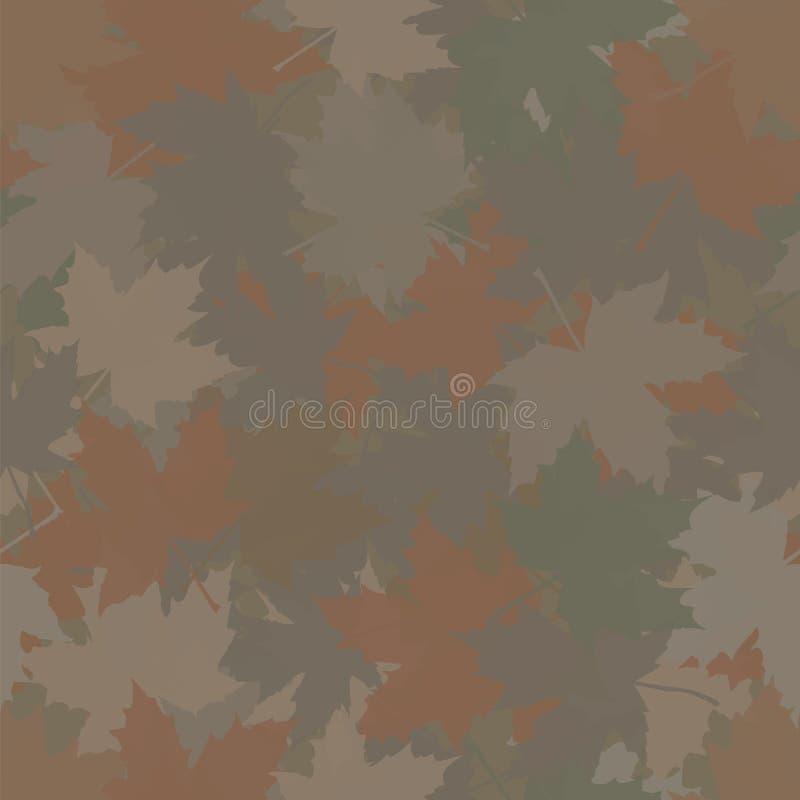 Trocknen Sie gefallene Ahornblätter Abstrakter vektornahtloser Hintergrund lizenzfreie abbildung