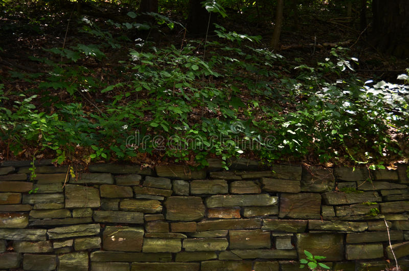 Trocknen Sie Stapelsteinwand bei Cornell Botanical Gardens stockbild