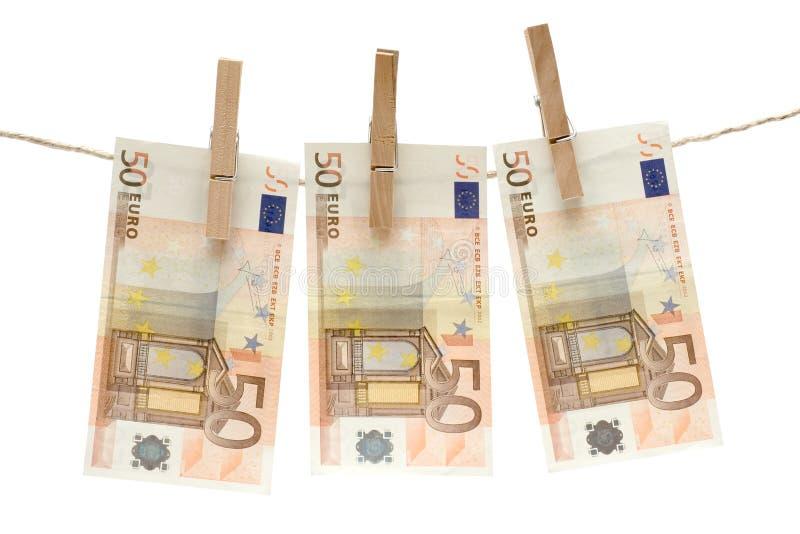 Trocknen von fünfzig Eurorechnungen lizenzfreie stockfotografie