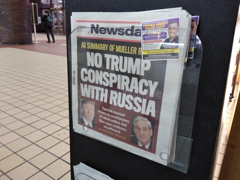 Troef Amerika, Mueller-Rapport, Media, Krantenkrantekop, NYC, NY, de V.S. stock foto's