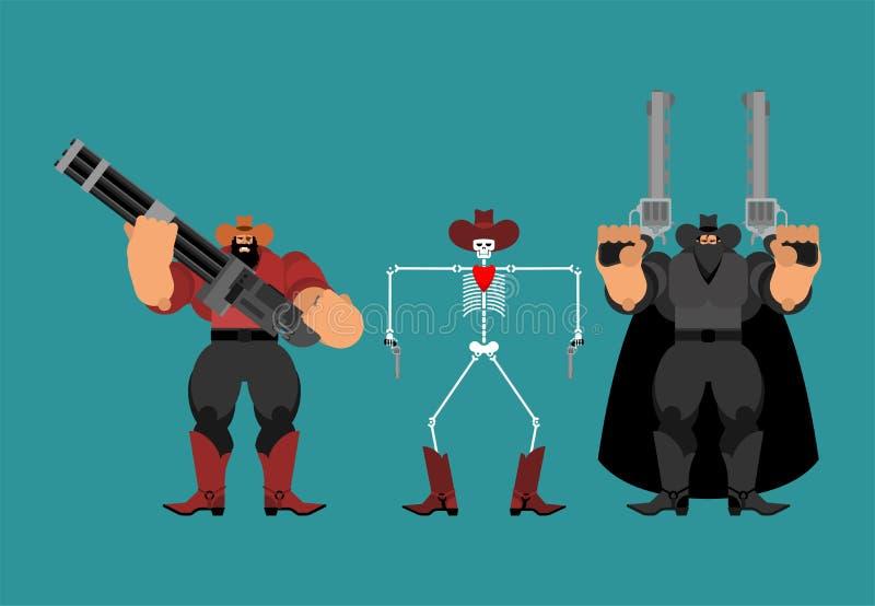 Troep van cowboysbandieten Cowboy en kanonreeks Wilde Westennen Gunfighter Westelijke Mens royalty-vrije illustratie