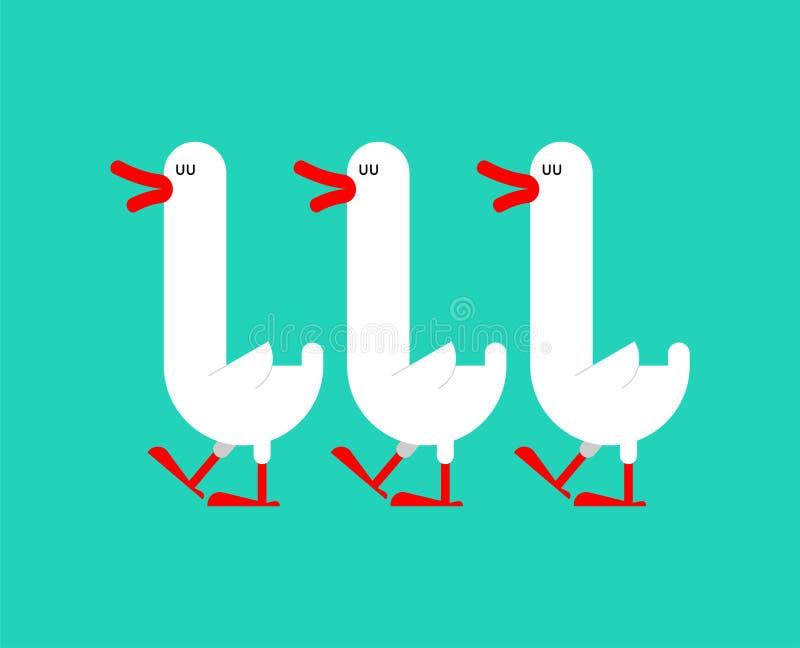 Troep van geïsoleerde ganzen lang-necked watervogel Vector illustratie royalty-vrije illustratie
