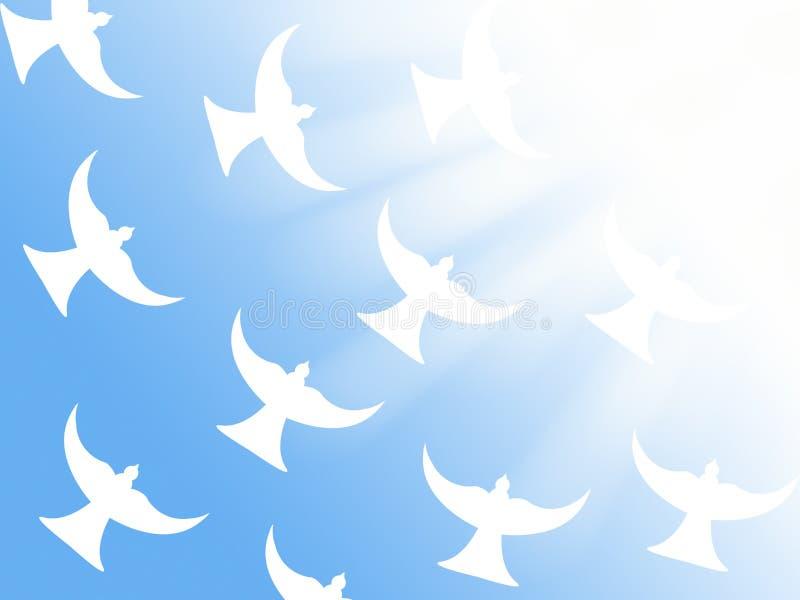 Troep van witte duiven die aan het christelijke symbool van de lichte stralenillustratie van vrede en heilige geest vliegen stock illustratie