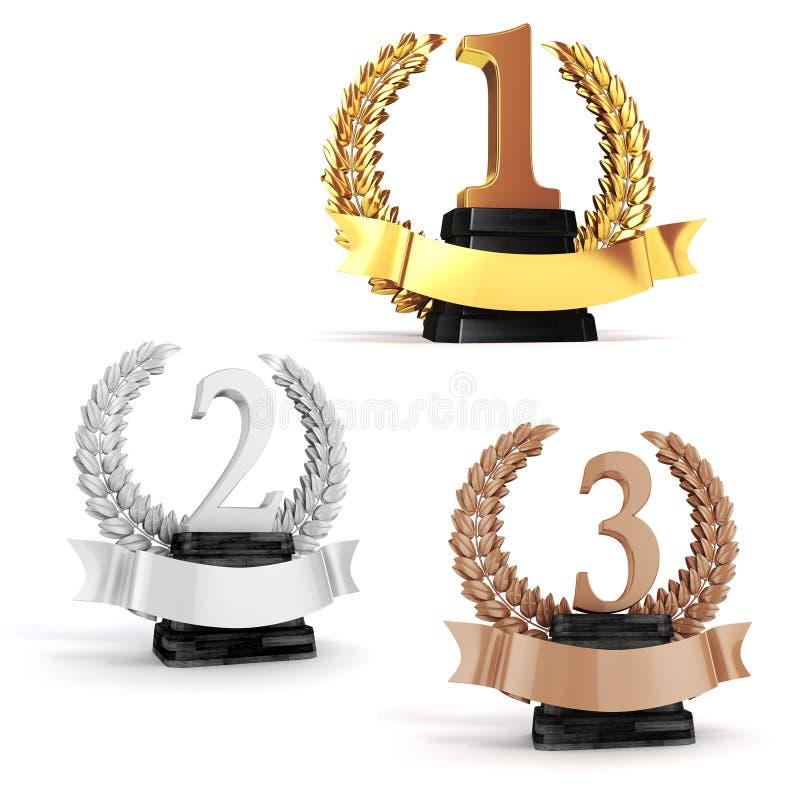 trofé för guld 3d, silver- och brons vektor illustrationer