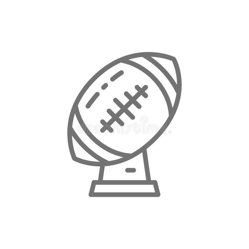 Trofé för rugbyboll, kopplinje symbol för amerikansk fotboll vektor illustrationer