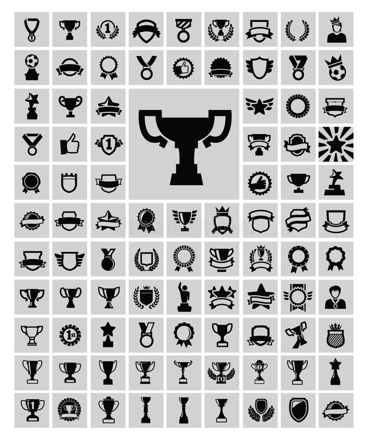Trofé och utmärkelser stock illustrationer