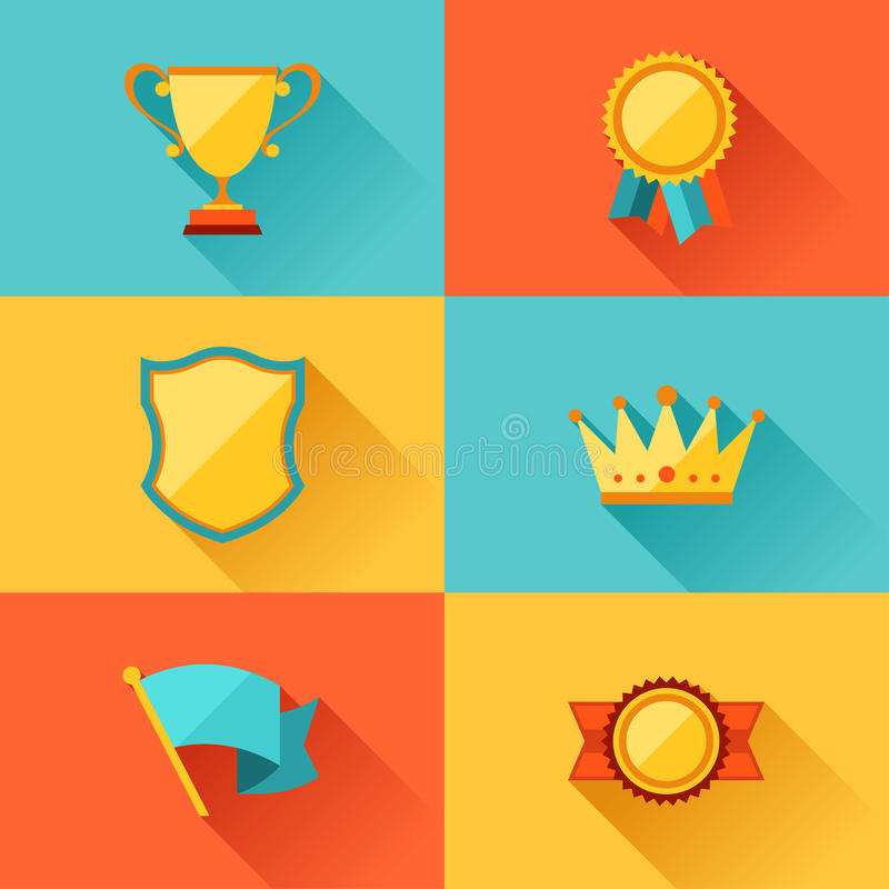 Trofé och utmärkelser i plan designstil vektor illustrationer