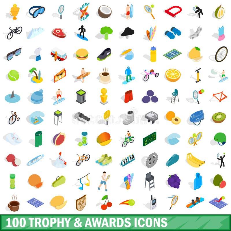 100 trofé och utmärkelsesymboler ställde in, isometrisk stil royaltyfri illustrationer