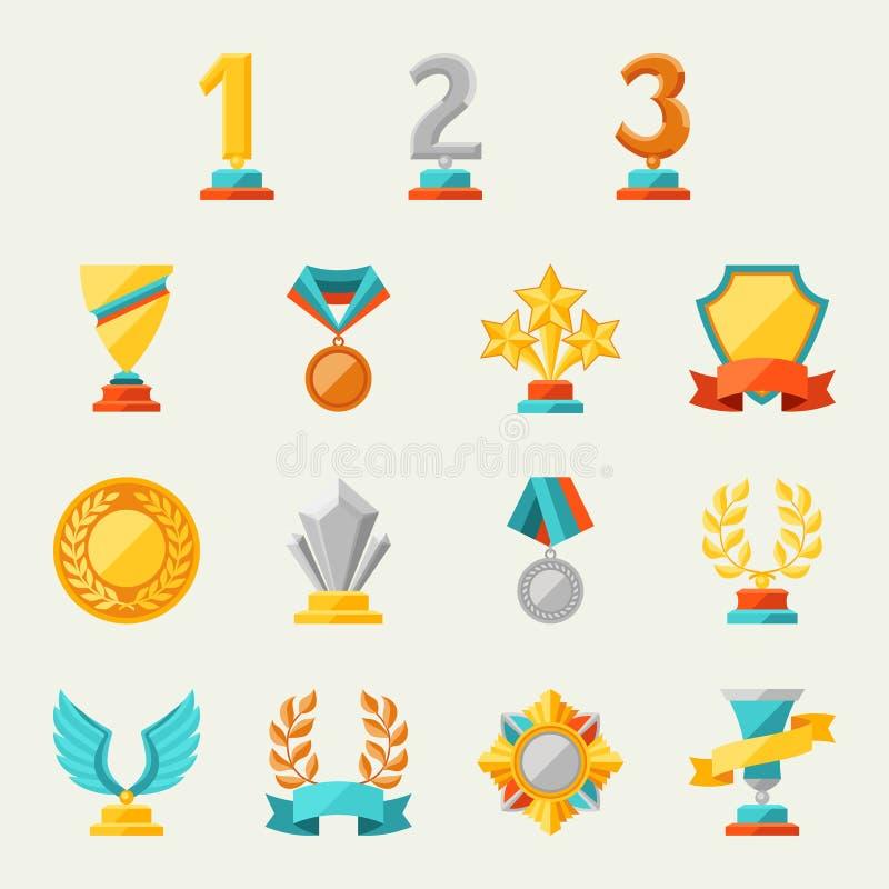 Trofé- och utmärkelsesymbolsuppsättning stock illustrationer
