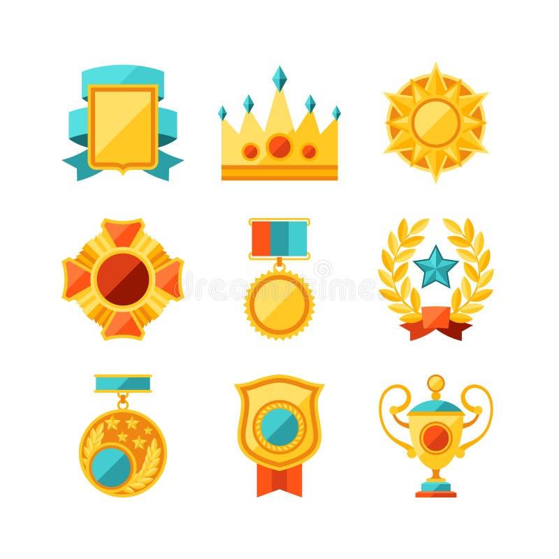 Trofé- och utmärkelsesymbolsuppsättning i plan designstil vektor illustrationer