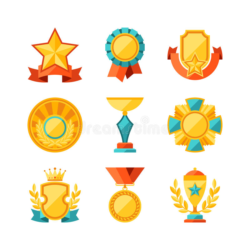 Trofé- och utmärkelsesymbolsuppsättning i plan designstil royaltyfri illustrationer