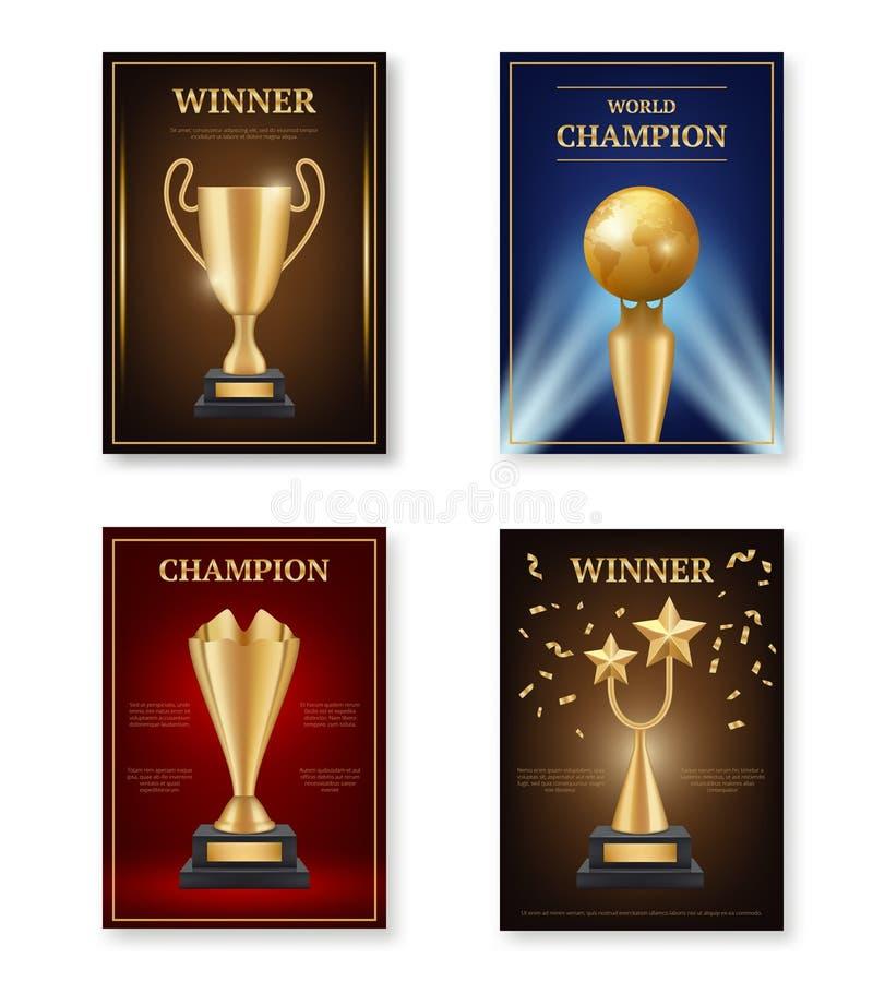 Troféaffisch Vinnareutmärkelser affischerar designmallmedaljer för mästareguld för att uppnå vektorsymboler royaltyfri illustrationer