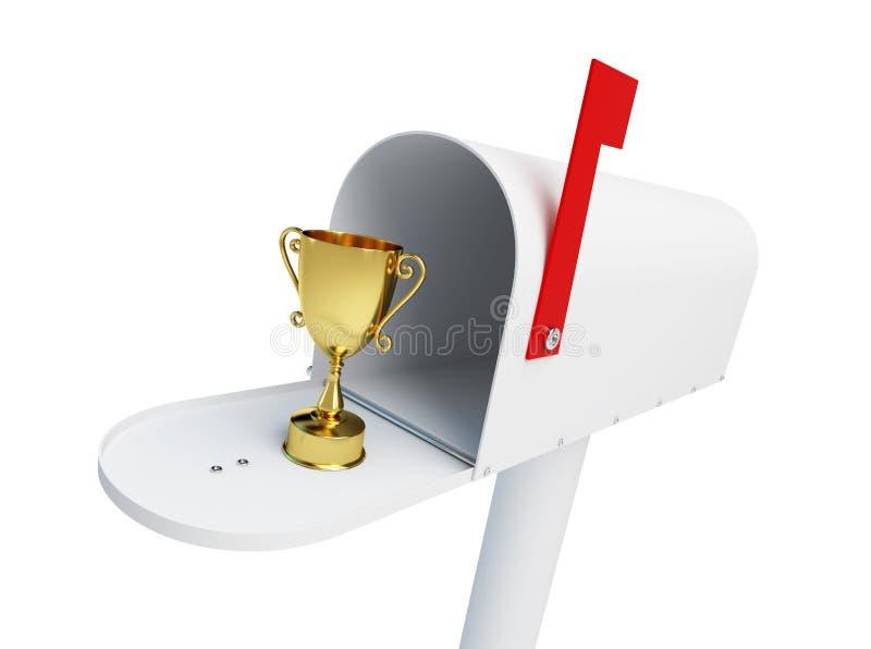 Trofékopp i brevlådan på en vit illustration för bakgrund 3D, tolkning 3D stock illustrationer