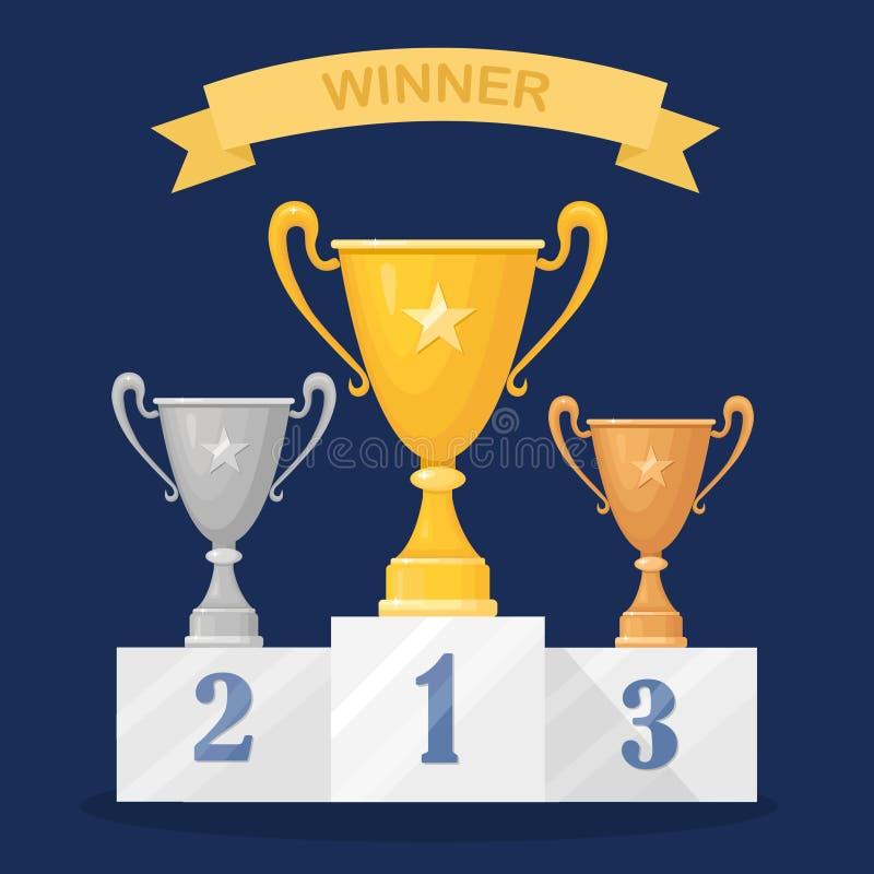 Trofékopp på sockel Guld- silver, bronsbägare som isoleras på bakgrund Utmärkelser för vinnaren, mästare Begrepp av segern, utmär royaltyfri illustrationer