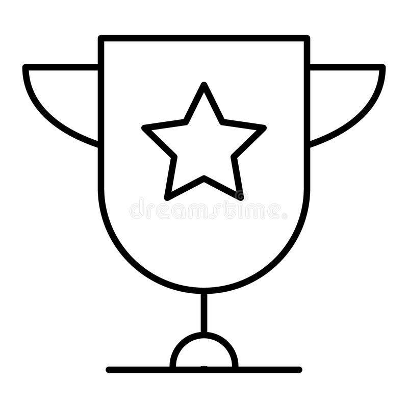 Trofékoppstjärna med handtag som isoleras på den vita designen för bakgrundslägenhetsymbol Guld- mästarekopp Utmärkelseteckenvekt royaltyfri illustrationer