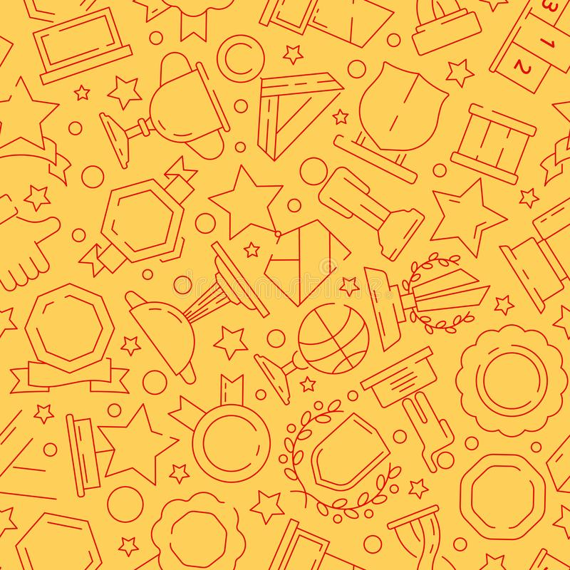 Trofémodell Sportvinnarebelöningar medalj och linje symboler för sömlös bakgrund för vektor för kopptextiltextur tunn vektor illustrationer